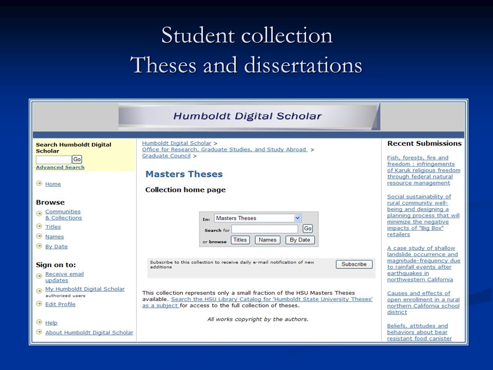 Student collection Theses and dissertations