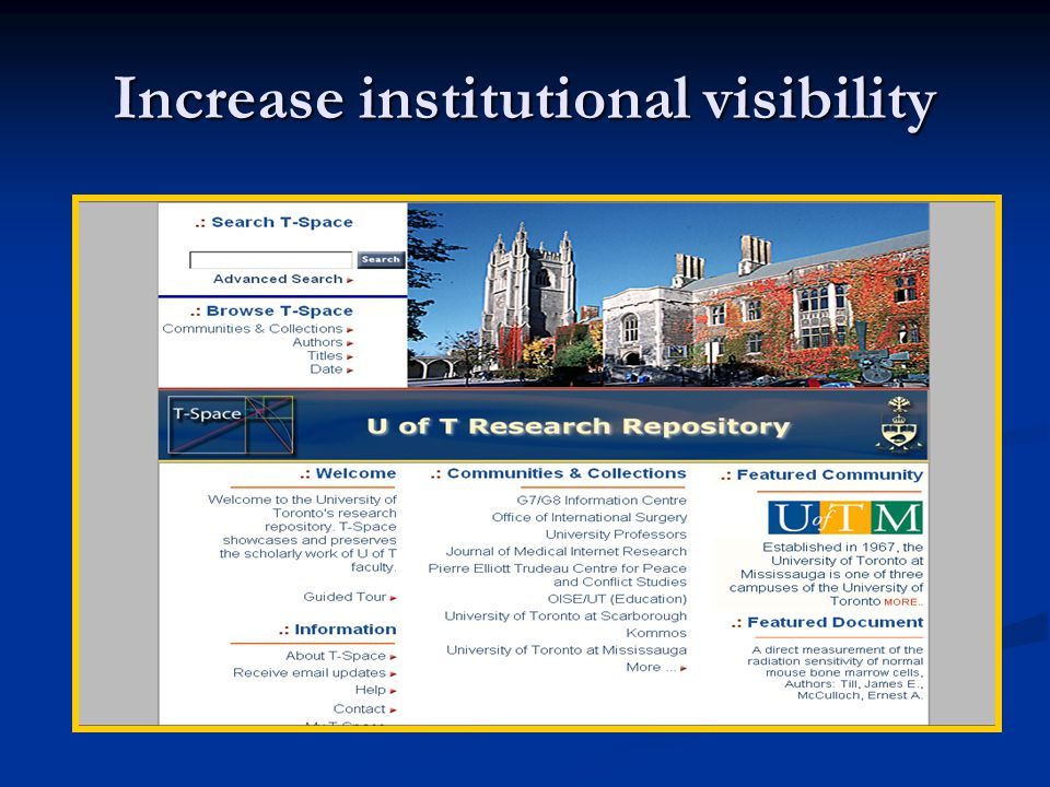 Increase institutional visibility