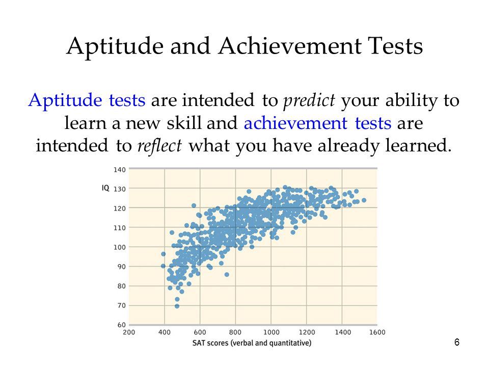6 Aptitude and Achievement Tests Aptitude tests are intended to predict your ability to learn a new skill and achievement tests are intended to reflect what you have already learned.