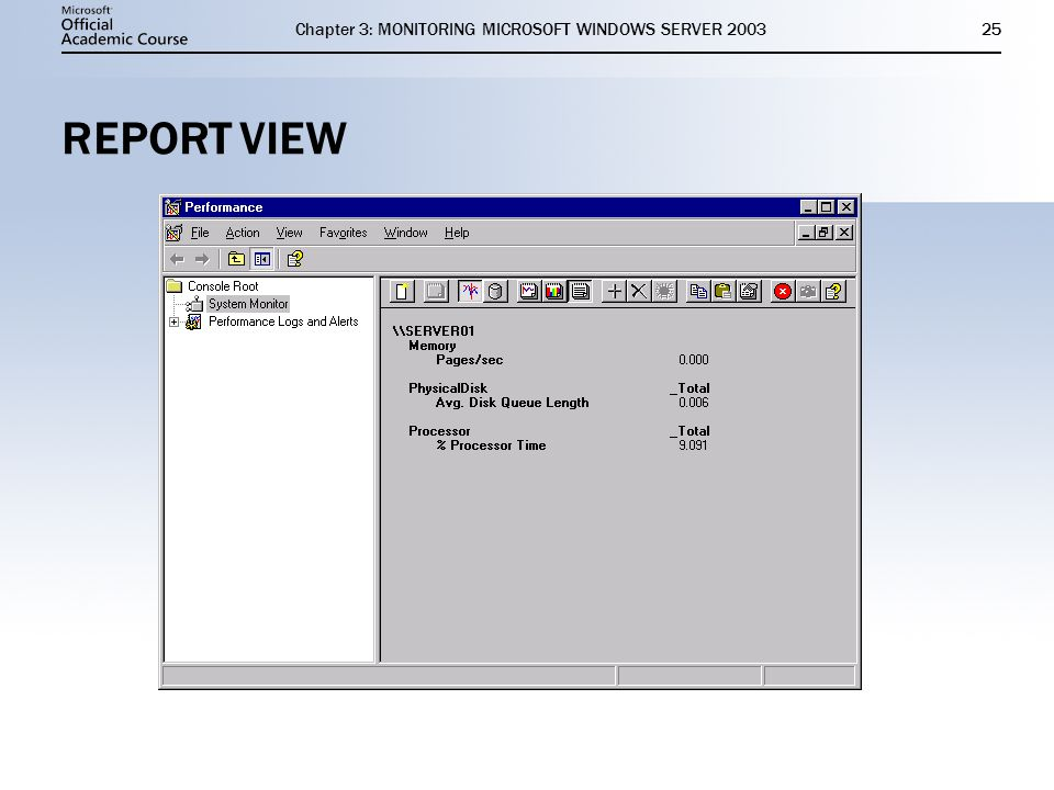 Chapter 3: MONITORING MICROSOFT WINDOWS SERVER REPORT VIEW
