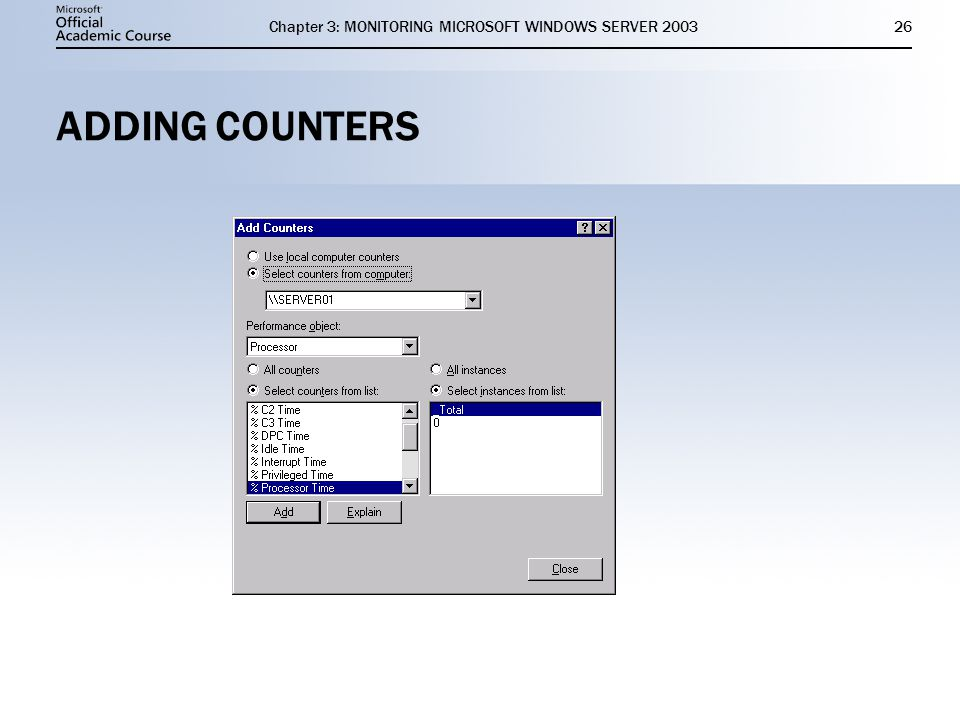 Chapter 3: MONITORING MICROSOFT WINDOWS SERVER ADDING COUNTERS