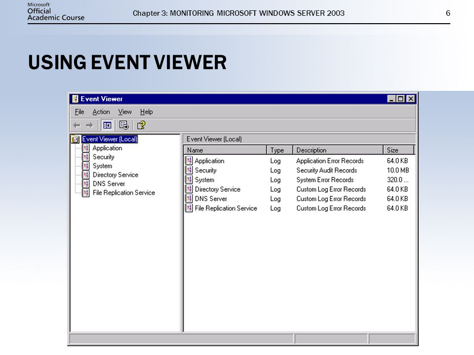 Chapter 3: MONITORING MICROSOFT WINDOWS SERVER USING EVENT VIEWER