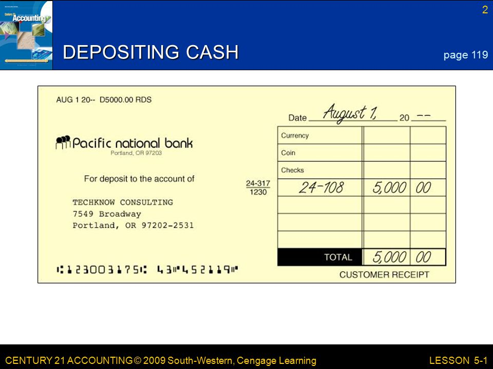 CENTURY 21 ACCOUNTING © 2009 South-Western, Cengage Learning 2 LESSON 5-1 DEPOSITING CASH page 119