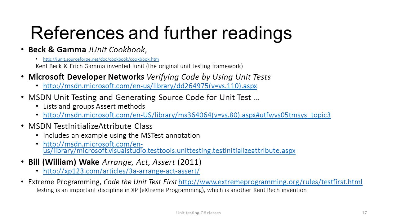 """Unit testing C# classes """"If it isn't tested it doesn't work"""" Unit"""