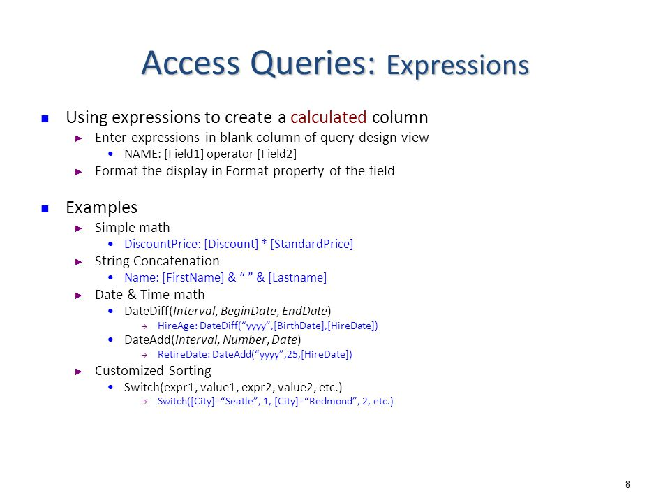 1 DB Implementation: MS Access Queries  2 Outline Access