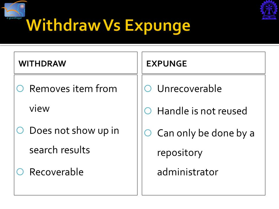 WITHDRAW  Removes item from view  Does not show up in search results  Recoverable EXPUNGE  Unrecoverable  Handle is not reused  Can only be done by a repository administrator