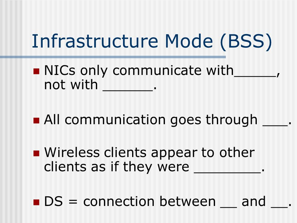 Infrastructure Mode (BSS) NICs only communicate with_____, not with ______.