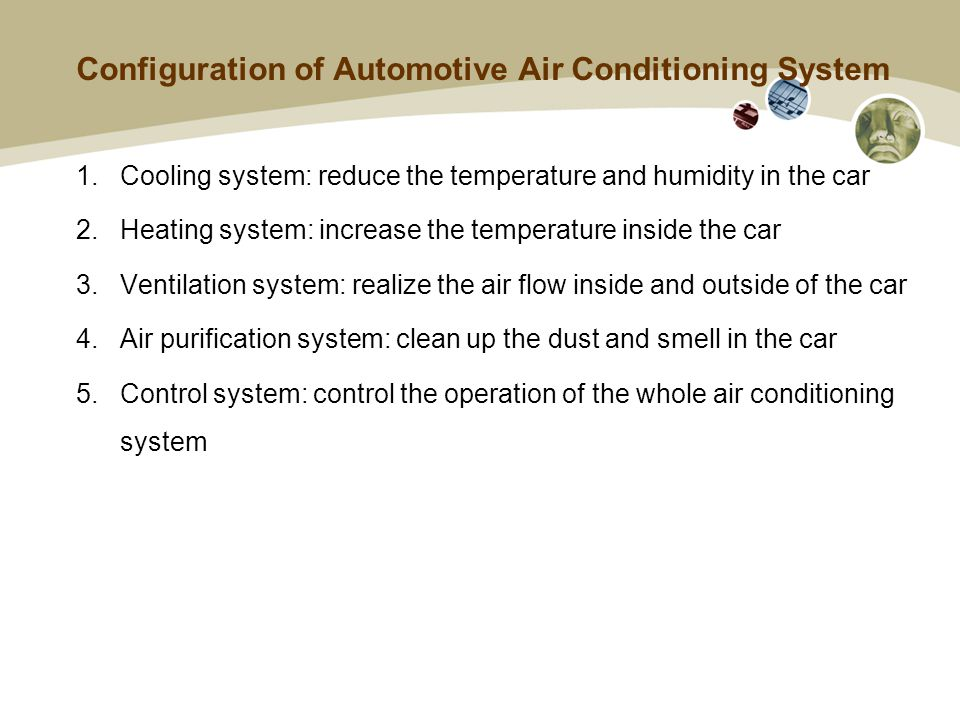 Configuration of Automotive Air Conditioning System 1.Cooling system: reduce the temperature and humidity in the car 2.Heating system: increase the temperature inside the car 3.Ventilation system: realize the air flow inside and outside of the car 4.Air purification system: clean up the dust and smell in the car 5.Control system: control the operation of the whole air conditioning system