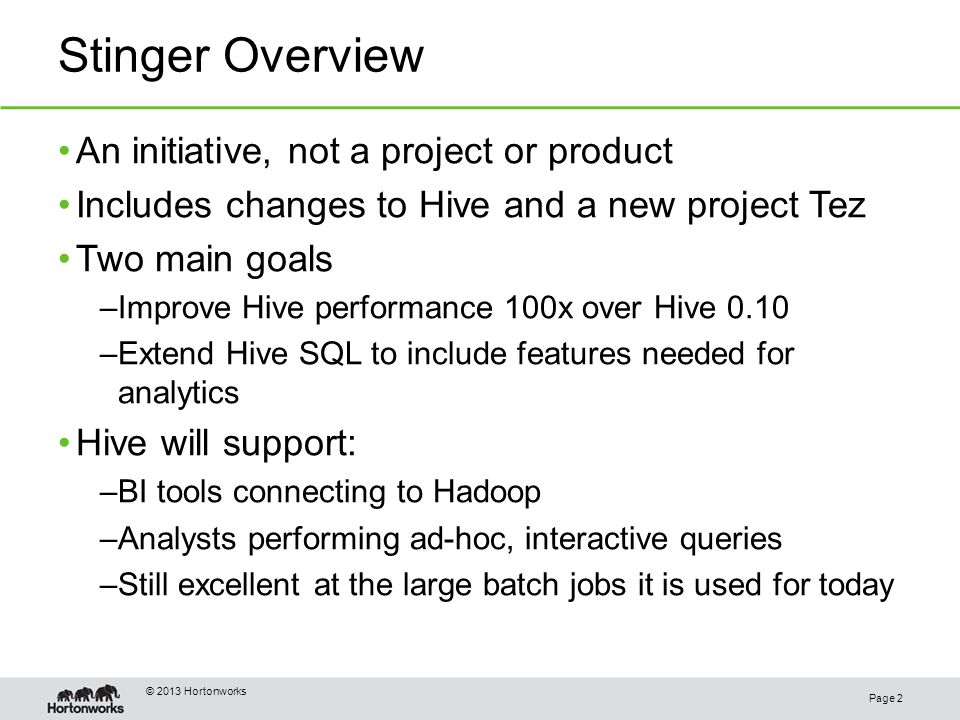 Putting the Sting in Hive Page 1 Alan F  - ppt download