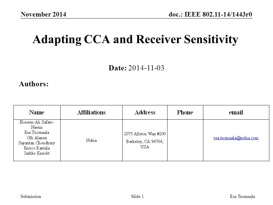 doc.: IEEE /1443r0 SubmissionEsa Tuomaala Adapting CCA and Receiver Sensitivity Date: Authors: Slide 1 November 2014