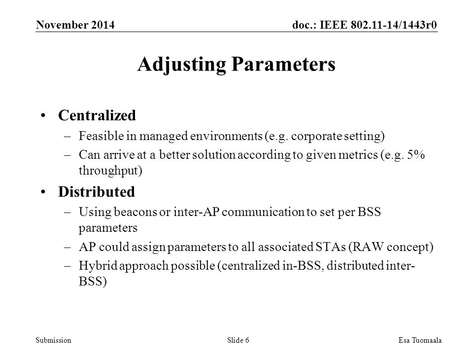 doc.: IEEE /1443r0 Submission Centralized –Feasible in managed environments (e.g.