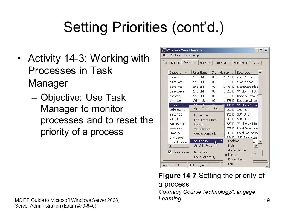 Setting Priorities (cont'd.) Activity 14-3: Working with Processes in Task Manager –Objective: Use Task Manager to monitor processes and to reset the priority of a process MCITP Guide to Microsoft Windows Server 2008, Server Administration (Exam #70-646) 19 Figure 14-7 Setting the priority of a process Courtesy Course Technology/Cengage Learning