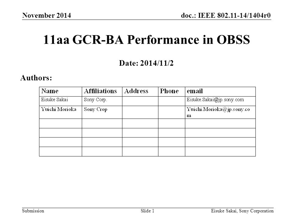 doc.: IEEE /1404r0 Submission November 2014 Eisuke Sakai, Sony CorporationSlide 1 11aa GCR-BA Performance in OBSS Date: 2014/11/2 Authors:
