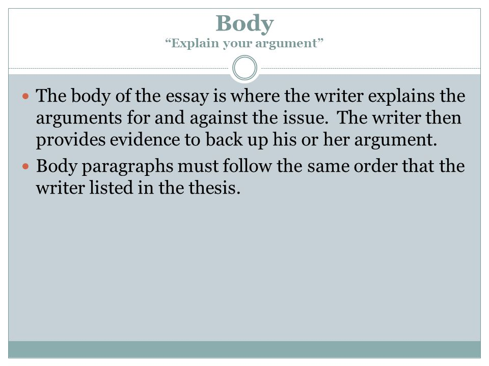 Body Explain your argument The body of the essay is where the writer explains the arguments for and against the issue.