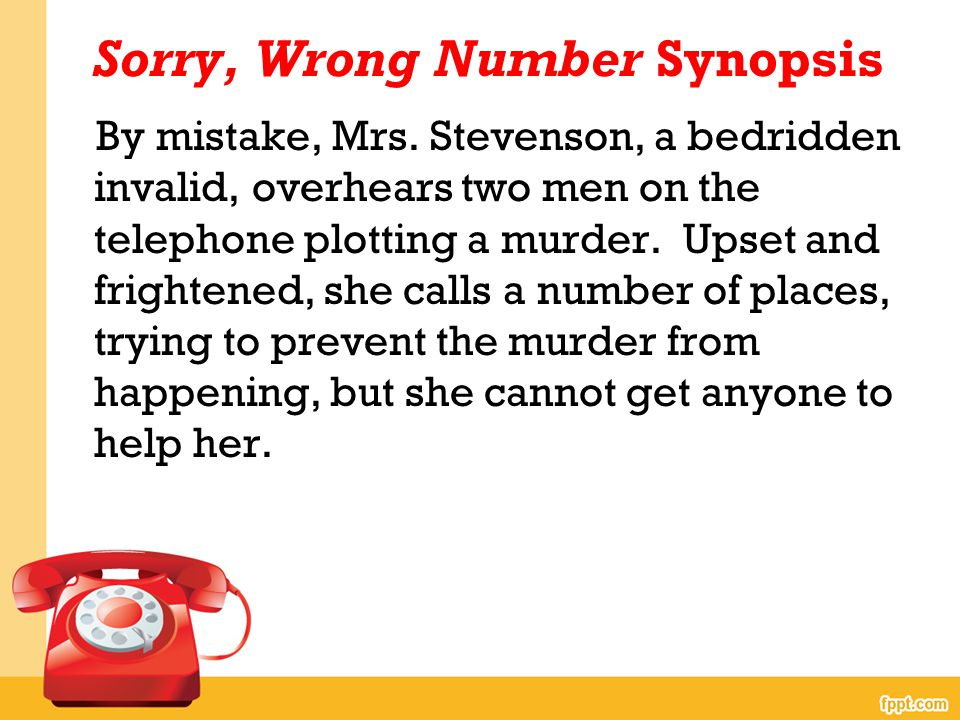 sorry wrong number story summary