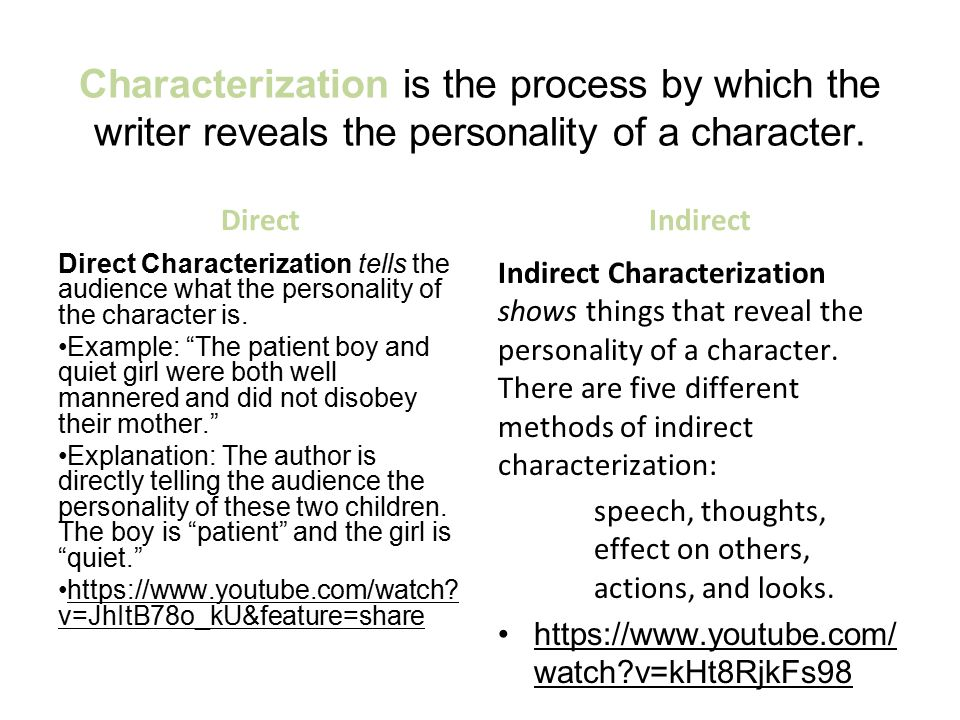 Characterization is the process by which the writer reveals the personality of a character.