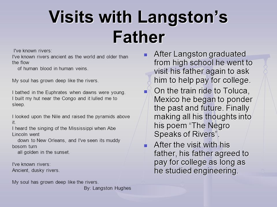 Visits with Langston's Father After Langston graduated from high school he went to visit his father again to ask him to help pay for college.