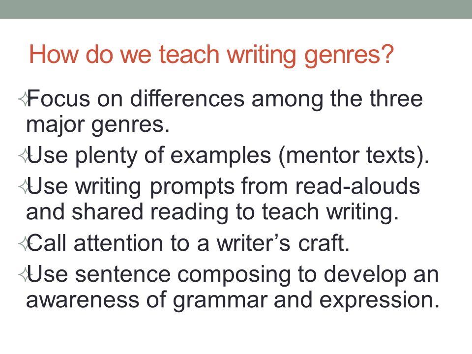 How do we teach writing genres.  Focus on differences among the three major genres.