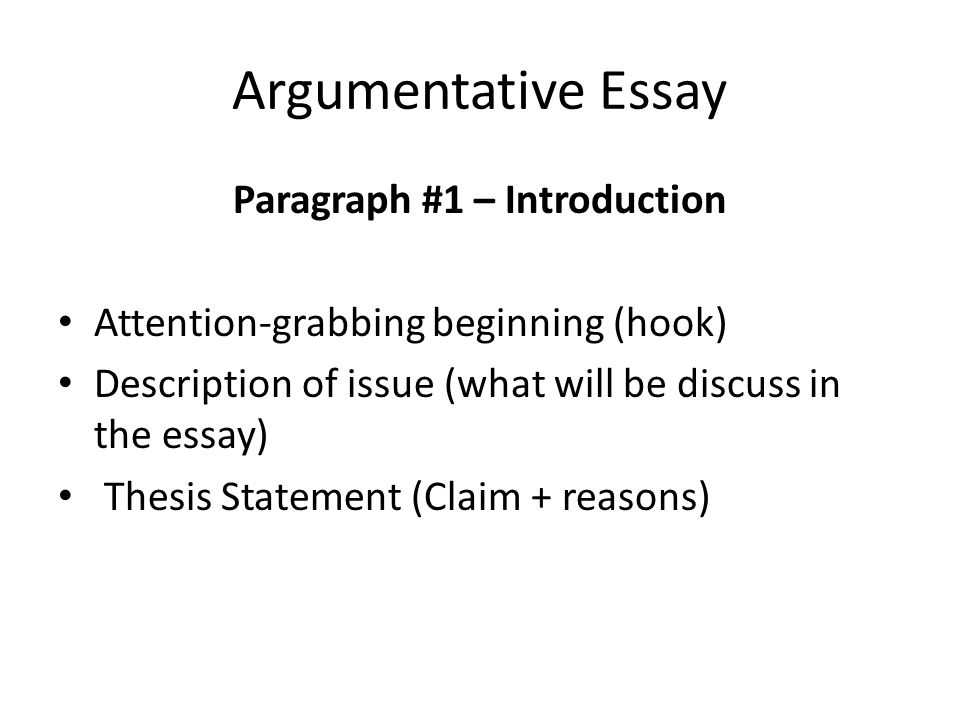 Argumentative Essay Paragraph #1 – Introduction Attention-grabbing beginning (hook) Description of issue (what will be discuss in the essay) Thesis Statement (Claim + reasons)