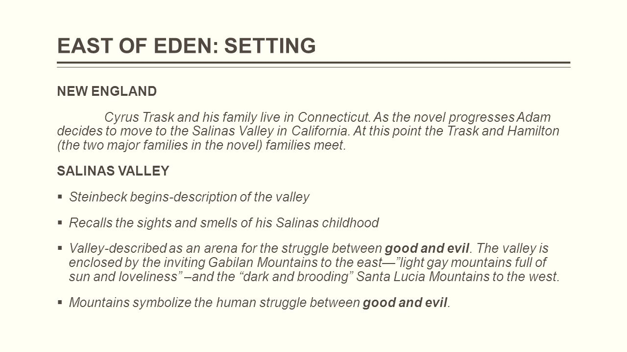 east of eden setting