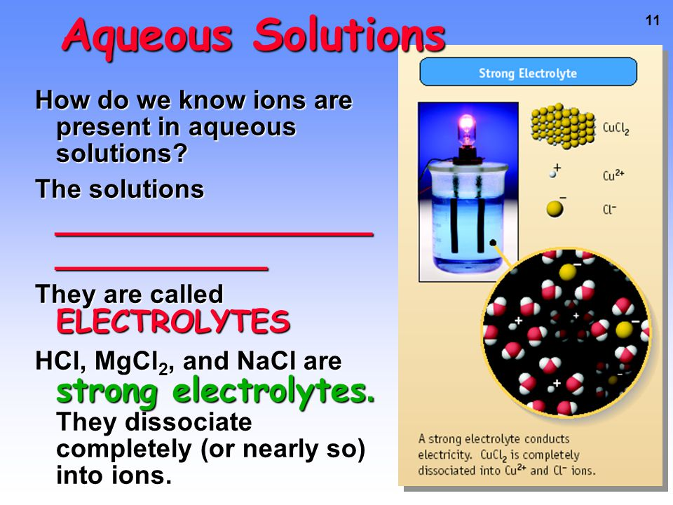 10 IONIC COMPOUNDS Compounds in Aqueous Solution Many reactions involve ionic compounds, especially reactions in water — aqueous solutions.