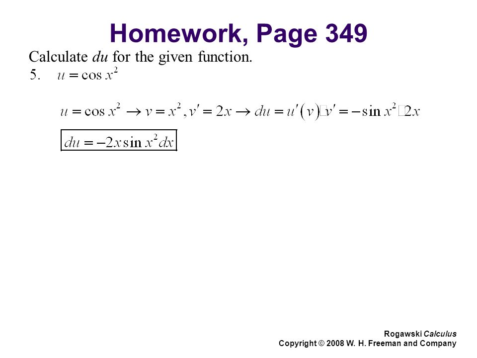 Homework, Page 349 Calculate du for the given function.