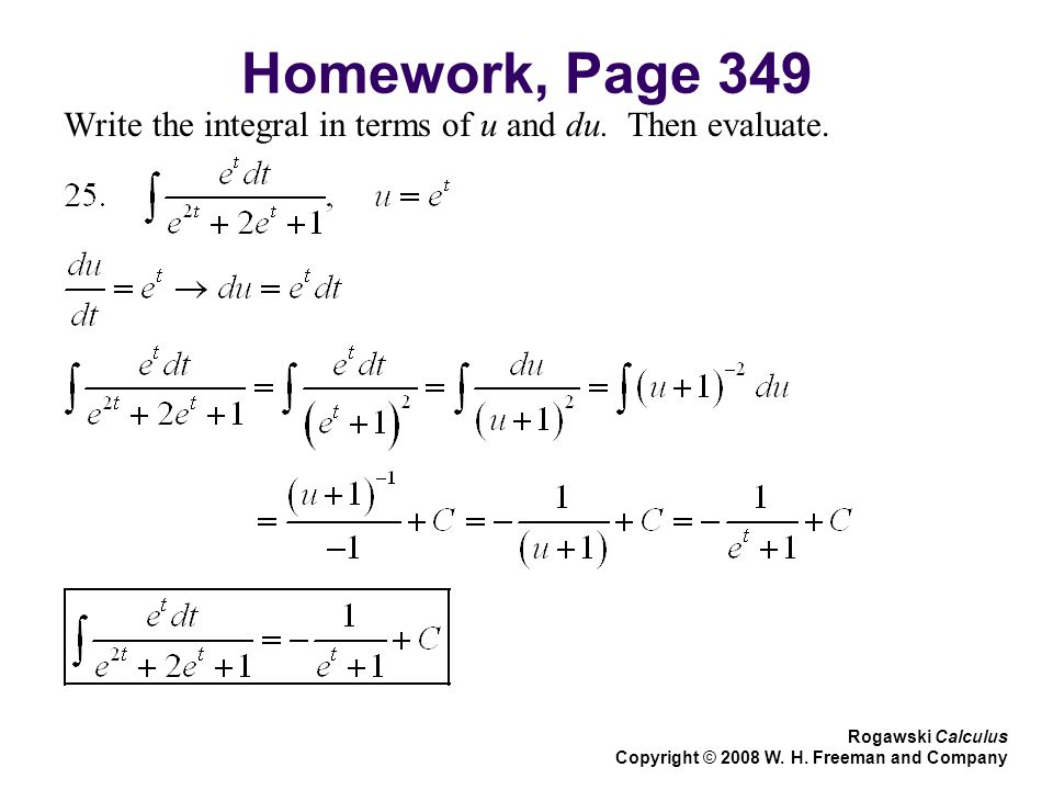 Homework, Page 349 Write the integral in terms of u and du.