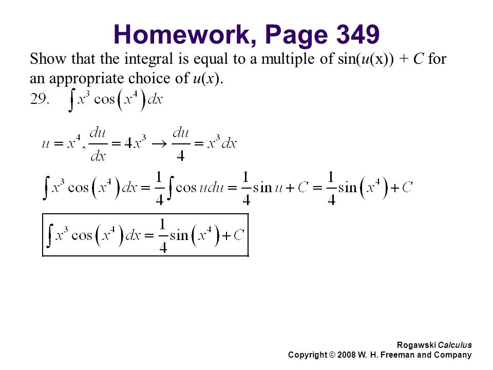 Homework, Page 349 Show that the integral is equal to a multiple of sin(u(x)) + C for an appropriate choice of u(x).