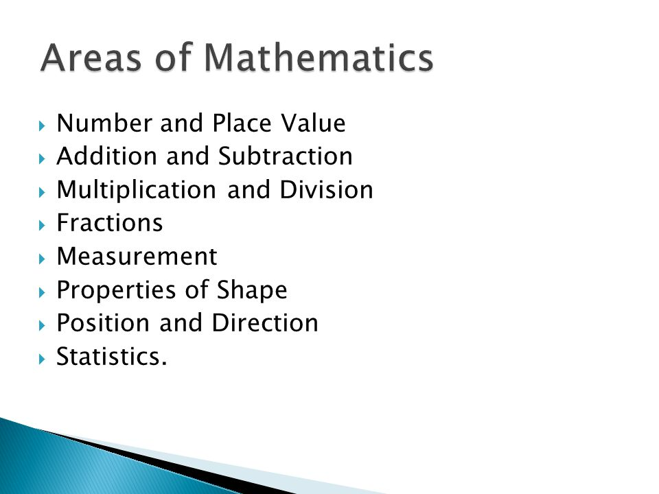  Number and Place Value  Addition and Subtraction  Multiplication and Division  Fractions  Measurement  Properties of Shape  Position and Direction  Statistics.