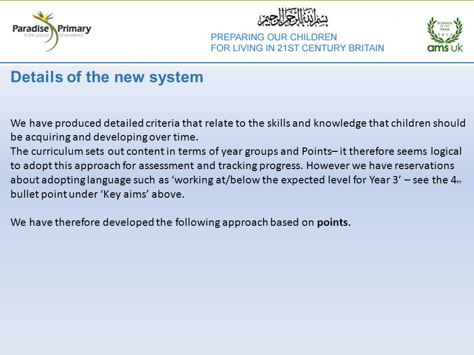 Details of the new system We have produced detailed criteria that relate to the skills and knowledge that children should be acquiring and developing over time.