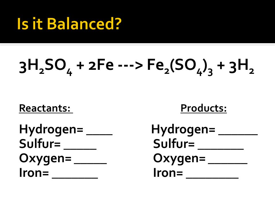 3H 2 SO 4 + 2Fe ---> Fe 2 (SO 4 ) 3 + 3H 2 Reactants: Products: Hydrogen= ____ Hydrogen= ______ Sulfur= _____Sulfur= _______ Oxygen= _____Oxygen= ______ Iron= _______Iron= ________