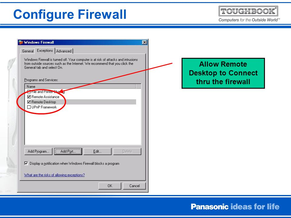 Configure Firewall Allow Remote Desktop to Connect thru the firewall