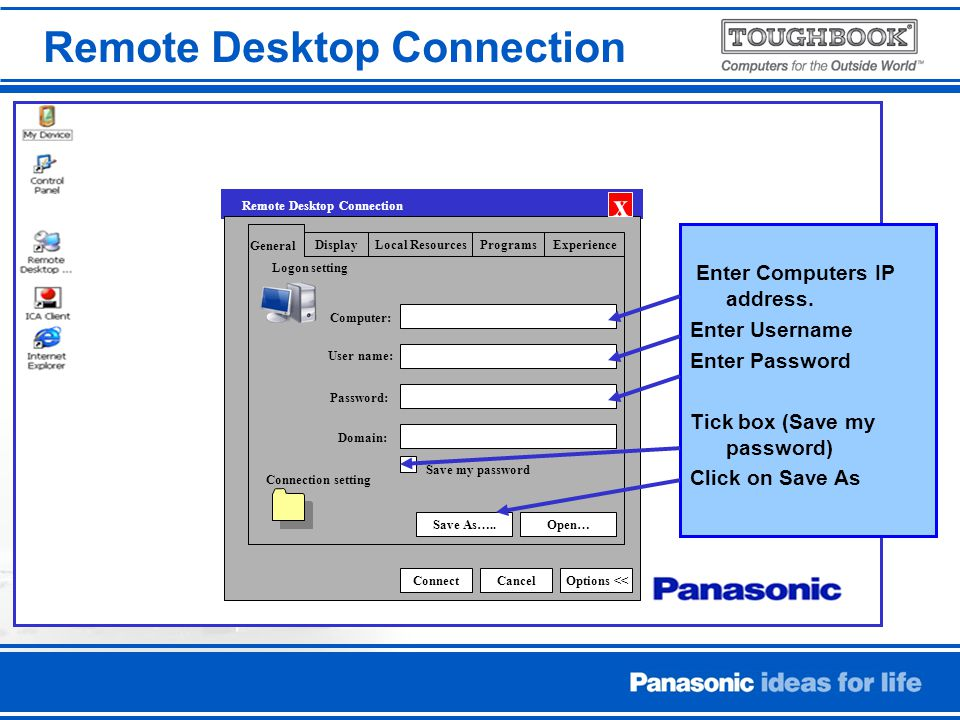 Enter Computers IP address.
