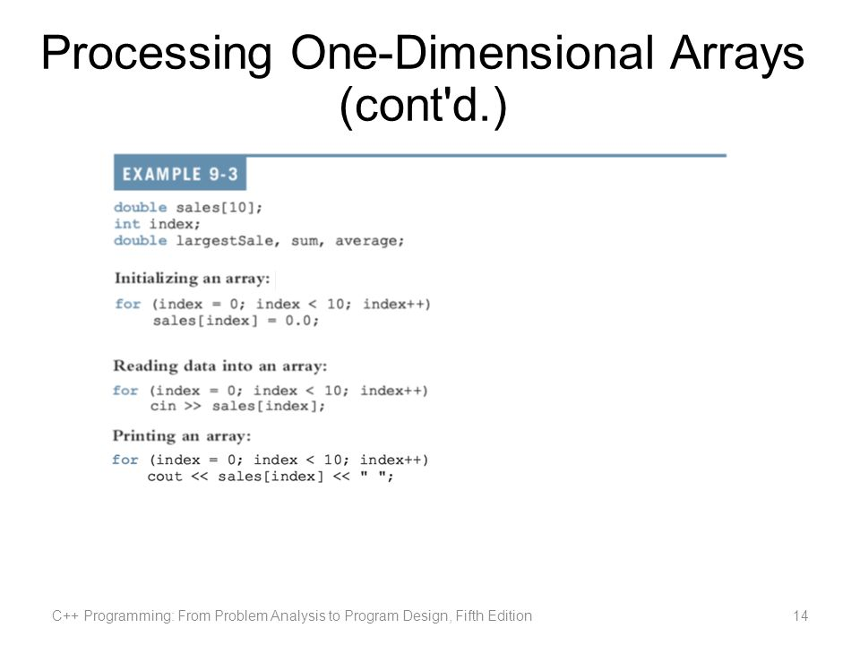 Processing One-Dimensional Arrays (cont d.) C++ Programming: From Problem Analysis to Program Design, Fifth Edition14
