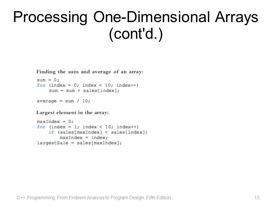 Processing One-Dimensional Arrays (cont d.) C++ Programming: From Problem Analysis to Program Design, Fifth Edition15