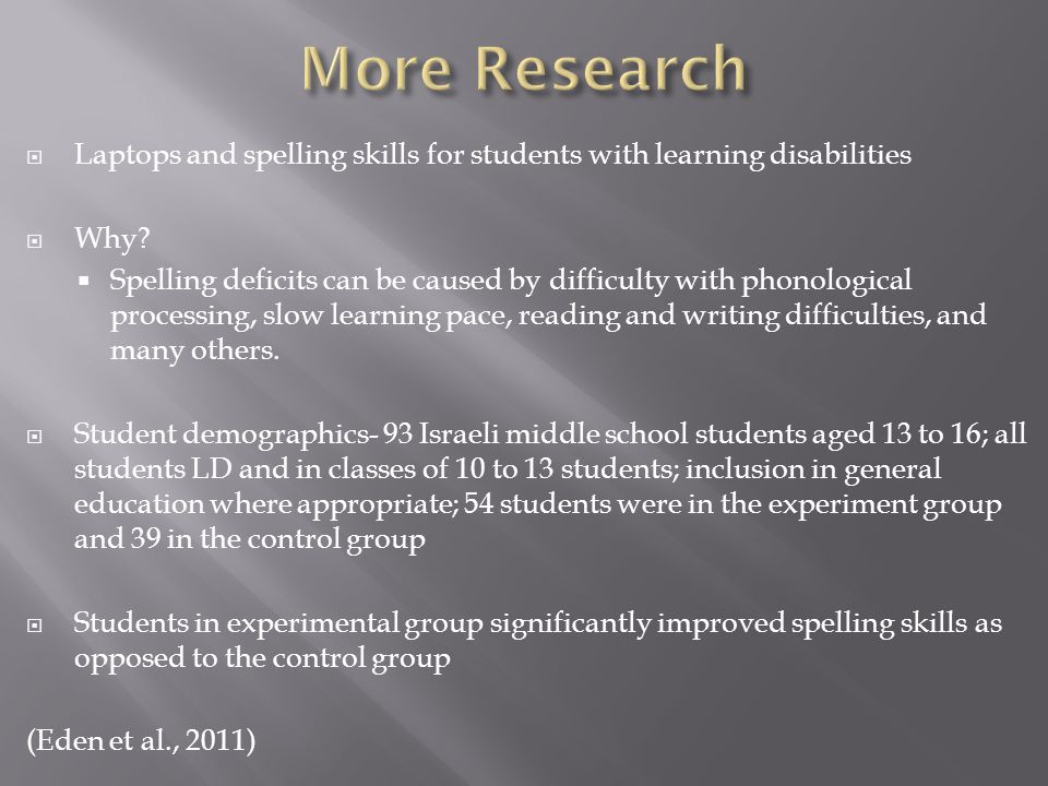  Laptops and spelling skills for students with learning disabilities  Why.