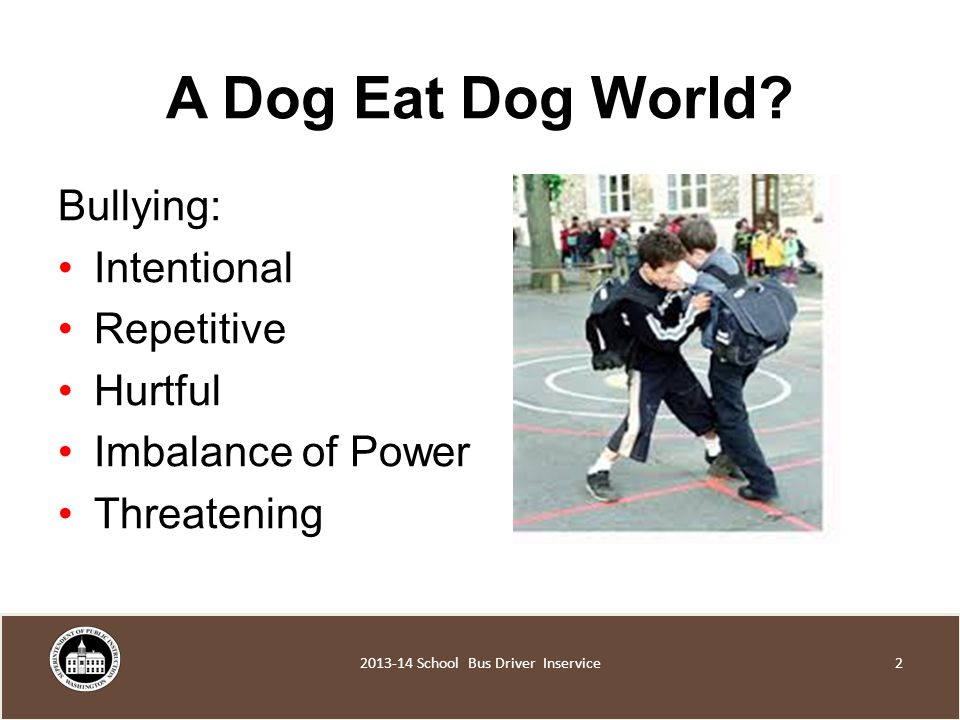 Bullying: Intentional Repetitive Hurtful Imbalance of Power Threatening 2 A Dog Eat Dog World.