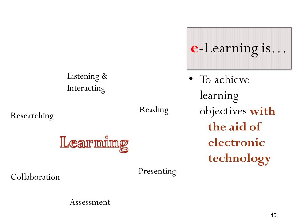 Learning is… Listening & Interacting Reading Presenting Assessment Collaboration Researching To achievelearningobjectives 15 e-Learning is… with the aid of electronic technology