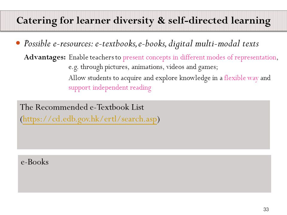 Possible e-resources: e-textbooks, e-books, digital multi-modal texts Advantages: Enable teachers to present concepts in different modes of representation, e.g.
