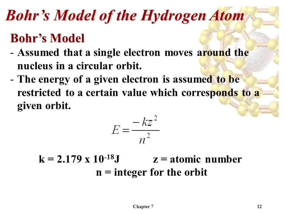 Chapter 712 Bohr's Model of the Hydrogen Atom Bohr's Model -Assumed that a single electron moves around the nucleus in a circular orbit.