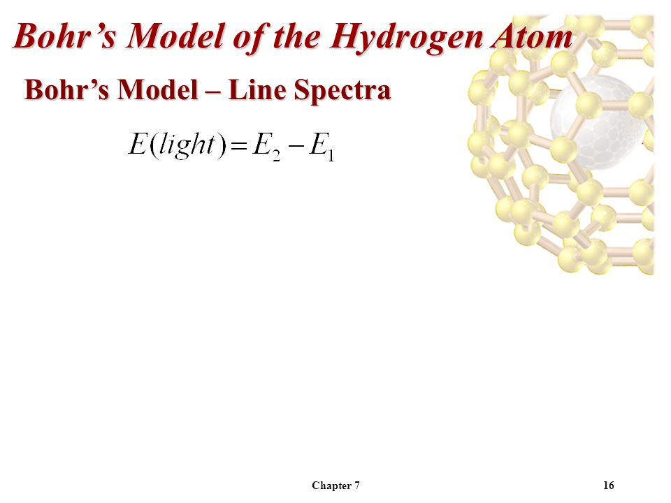 Chapter 716 Bohr's Model of the Hydrogen Atom Bohr's Model – Line Spectra