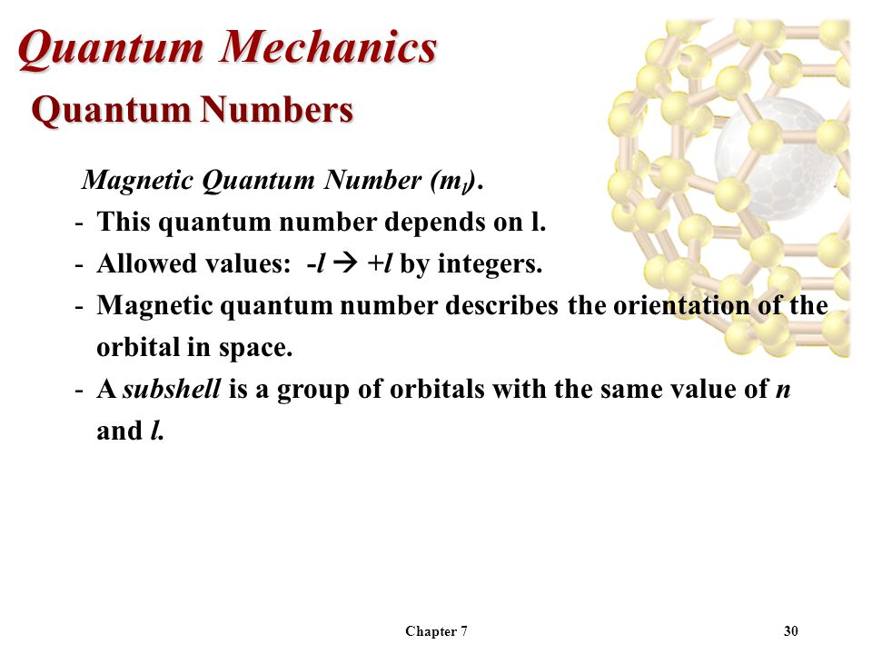 Chapter 730 Quantum Mechanics Magnetic Quantum Number (m l ).