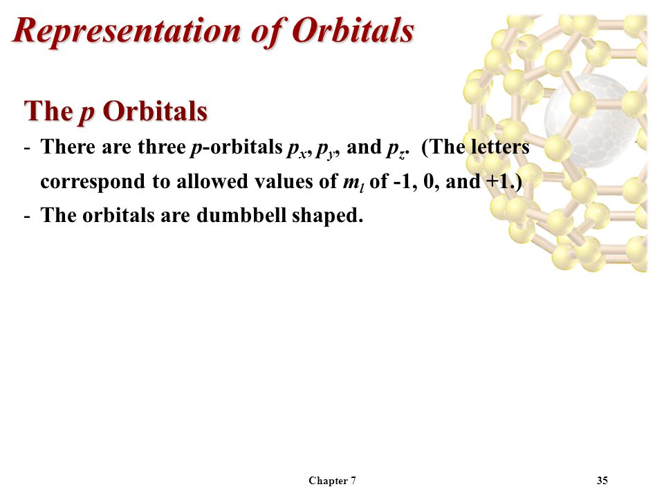 Chapter 735 Representation of Orbitals The p Orbitals -There are three p-orbitals p x, p y, and p z.