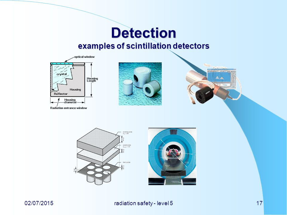 Detection examples of scintillation detectors 02/07/2015radiation safety - level 517