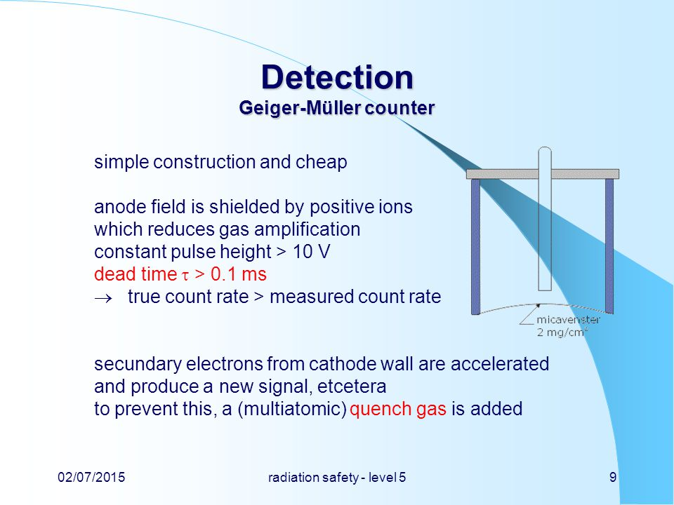 Detection Geiger-Müller counter simple construction and cheap anode field is shielded by positive ions which reduces gas amplification constant pulse height > 10 V dead time  > 0.1 ms  true count rate > measured count rate secundary electrons from cathode wall are accelerated and produce a new signal, etcetera to prevent this, a (multiatomic) quench gas is added 02/07/2015radiation safety - level 59