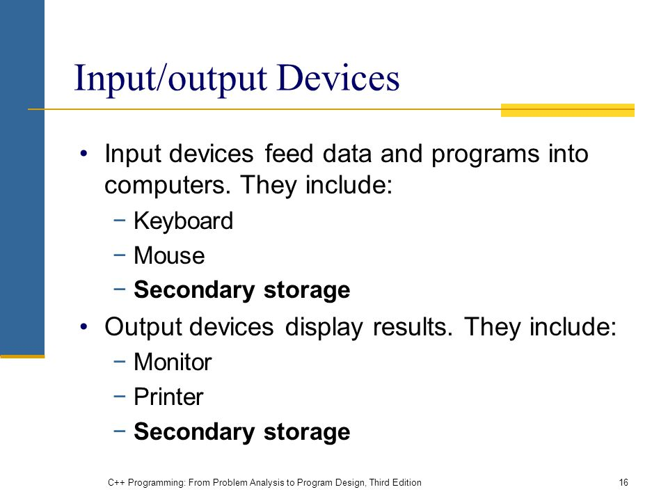 Input/output Devices Input devices feed data and programs into computers.