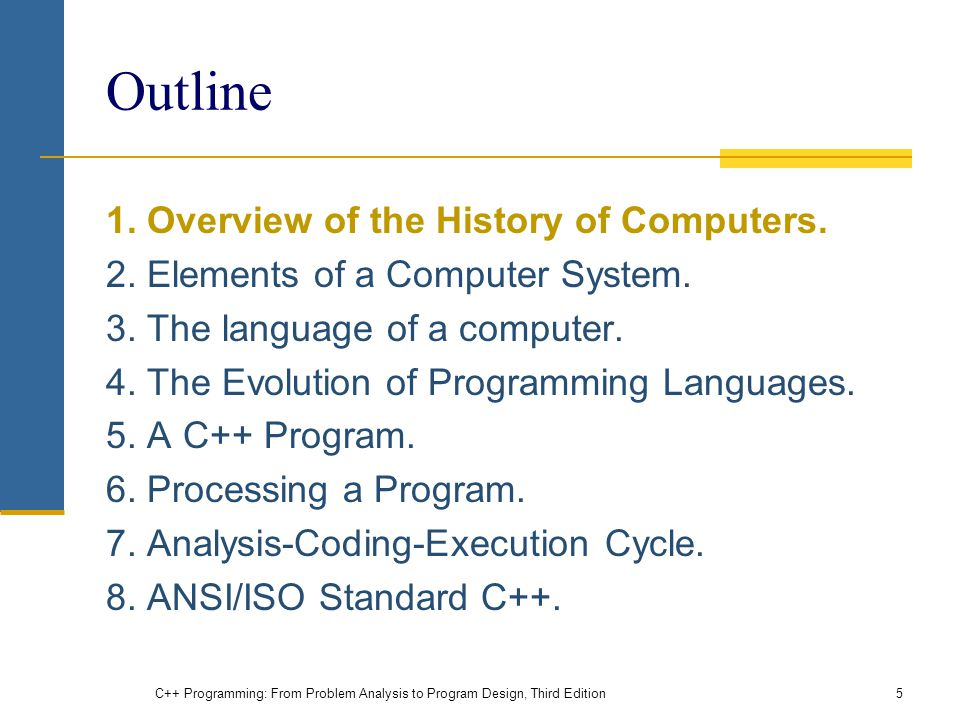Outline 1. Overview of the History of Computers. 2.