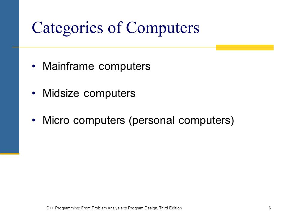Categories of Computers Mainframe computers Midsize computers Micro computers (personal computers) C++ Programming: From Problem Analysis to Program Design, Third Edition6