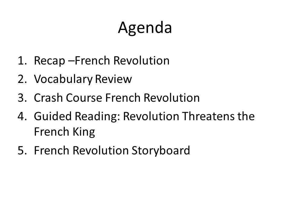 Introduction To The French Revolution Agenda 1cap French