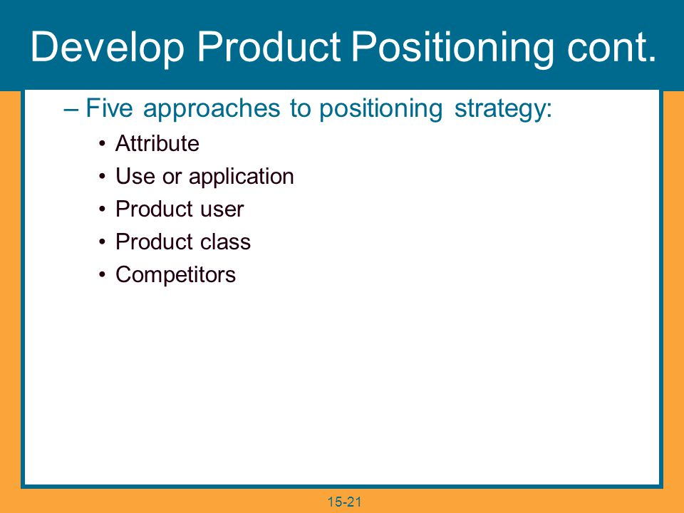 15-21 Develop Product Positioning cont.